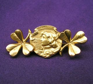 Antique French Joan Of Arc Brooch Signed Becker,  Gold Filled Pin Brooch By Fix