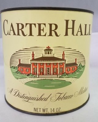 Vintage Advertising Carter Hall Tobacco Mixture Pry Top Canister Tin Z - 186