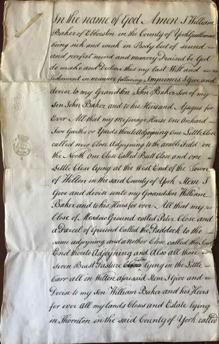 1769 Document King George Iii Era Willl Of William Baker Of Ebberston Yorkshire