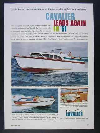 1961 Chris - Craft Cavalier Custom Cruiser & Sports Utility Boats Vintage Print Ad