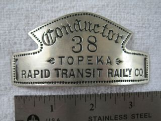 Topeka Rapid Transit Railway - Trolley Conductor (1887 - 92) - Extremely Rare