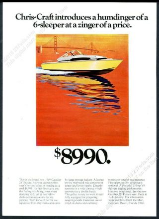 1969 Chris Craft Cavalier Futura Boat Cool San Francisco Art Vintage Print Ad