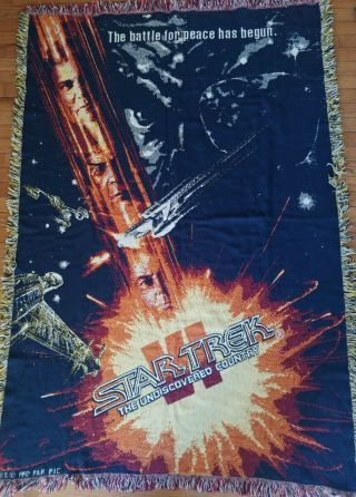 Star Trek Vi The Undiscovered Country Blanket,  Woven Throw Cotton Afghan