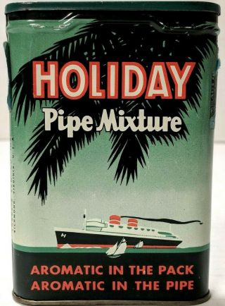 Vtg Holiday Pipe Mixture Pocket Pipe Cigarette Tobacco Tin Full Great Graphics