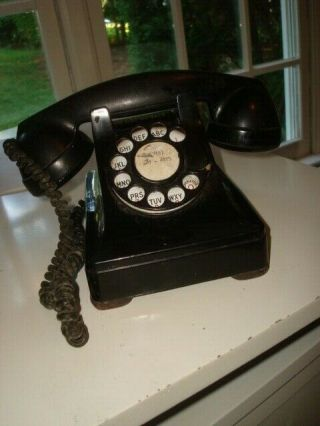 """Rare Western Electric 302ac Party Line Telephone """" Lift Plunger To Dial Or Talk """""""