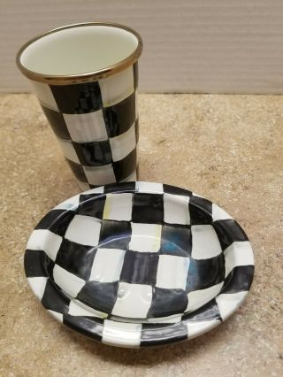Mackenzie Childs Tumbler And Soap Dish Courtly Check Enamel Ware