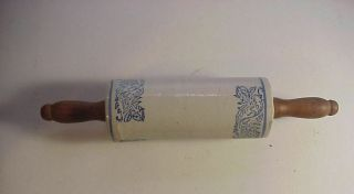 Antique Fancy Blue Decorated Stoneware Rolling Pin
