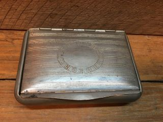 Vintage German Silver Plated Snuff Box Tobacco Cigarette Candy Stash Rune