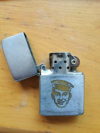 Vintage 1961 Zippo Lighter With Sailor Image And Hinge Repair