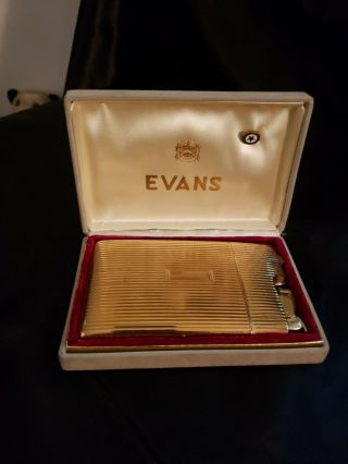Vintage Evans Art Deco Cigarette Case And Lighter.  Gold Tone Finish