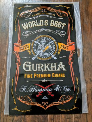 Gurkha Worlds Best Cigar Tobacco Tin Metal Sign K.  Hansotia & Co Large