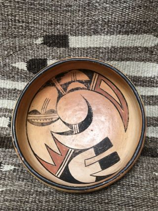 Wonderful Antique Hopi Pueblo Pictorial Pottery Bowl.
