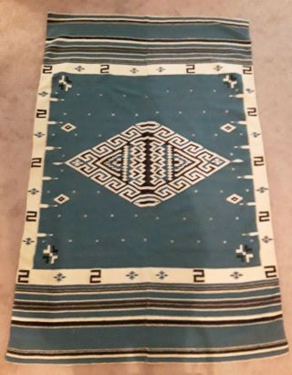 Antique Texcoco Mexican Native Weaving Rug Blue Black Stripe Approx 48 X 75 Wool