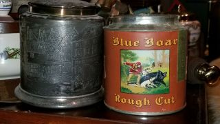 Blue Boar Vintage Pipe Tobacco Tin And Metal Cover 1920