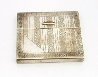 Art Deco Silver Plated Cigarette Case W Unusual Slide Up Opening Function