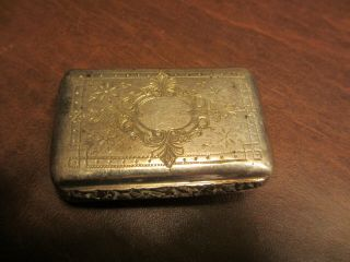Vintage Antique Old Silver Plated Snuff Box With Engraved Lid - See Others Listed
