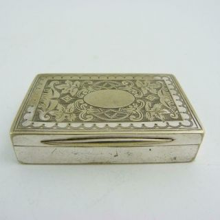 Antique Silver Plated Snuff Box With Gilt Interior,  19th Century