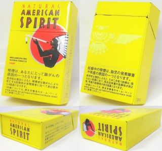American Spirit Tobacco Case Can Tin Cigar Cigarette Box Rare Yellow
