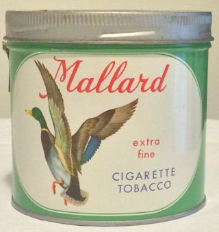 Vintage Mallard Houde & Grothe Extra Fine Cigarette Tobacco Tin Canister