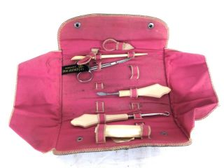 Antique Manicure Set In Celluloid Handles And Leather Case A32