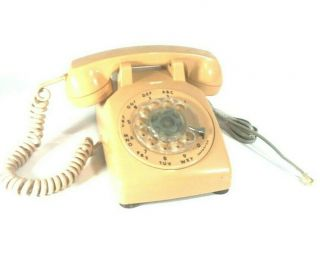 Vintage Itt Cream Color Rotary Dial Phone With All Cords