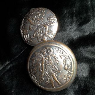 Rare Lovely Antique French Art Nouveau Silver Plated Pill Box Fairy Violin Lady