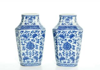 A Chinese Blue And White Porcelain Vases