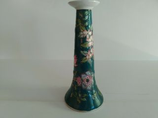 Antique Traditional Chinese Candle Stick Ceramic Glazed Floral Symbolism 10 ""