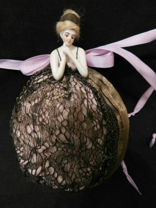 Vintage Bisque Pincushion Half Doll With Wig - Arms Away - Germany (?)