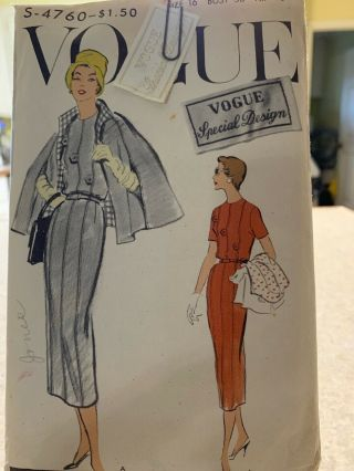 Vintage Vogue Special Design 4760 Uncut With Sew In Tag 1957
