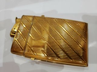 Vintage Evans Art Deco Cigarette Case & Lighter Gold Tone / Usa Made