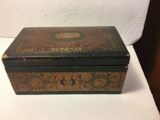 Antique Egyptian Cigarettes Tobacco Leather & Wood Box Ga Georgoplo Stone St Nyc