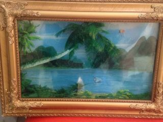 Vintage Tiki Bar Palm Tree Island Paradise Lamp Light Framed In Gold