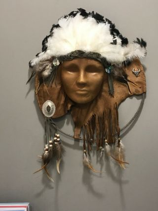 "Large Vintage Handmade Native American Leather Wall Hanging Ritual Mask 17 "" X 14"