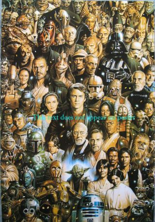 Star Wars Character Guide Great Poster 14.  5 X 21 All Major Chars From Eps 1 - 6