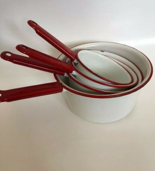 Vintage Enamelware Red And White Nesting Sauce Pans Set Of 4 3