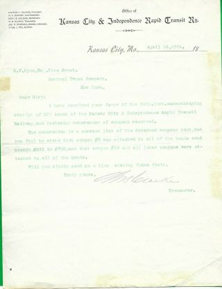 1894 Kansas City & Independence Rapid Transit Rwy.  Trolley Letter