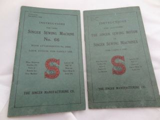 Vintage 1911 Singer Electric Sewing Machine Model No.  66 Instructions Manuals