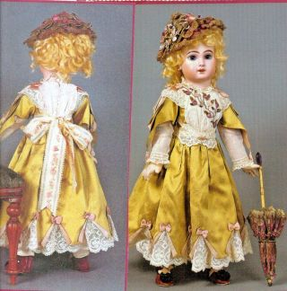 "20 - 21 "" Antique French Jumeau Doll Dress/ribbon Roses Lace Trim Pattern German"