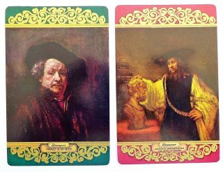 Pair Vintage Swap Cards.  Rembrandt Artist Self Portrait,  Aristotle & Bust Homer