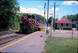 2004 Cape Cod Central Rr Ccrx 1201 Rs - 3 Locomotive At Station Kodachrome Slide