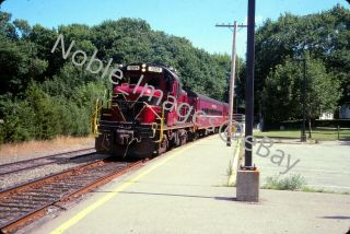 2004 Cape Cod Central Ccrx 1201 Rs - 3 Locomotive Leave Station Kodachrome Slide