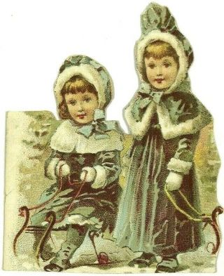 Victorian Cutout Scrap Card Sisters Little Girls On Sled Fur Trim Capes Crafts