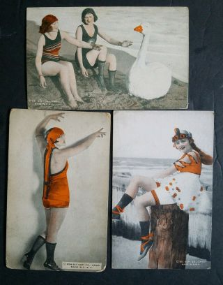 "Mack Sennett Girls "" Bathing Beautys "" Colorized1920s Exhibit Rare 3card Lot2"
