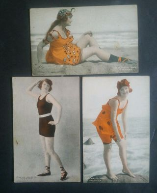 "Mack Sennett Girls "" Bathing Beautys "" Colorized1920s Exhibit Rare 3card Lot8"