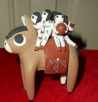 Native American Donkey With 5 Children Story Teller Pottery Hopi Pueblo