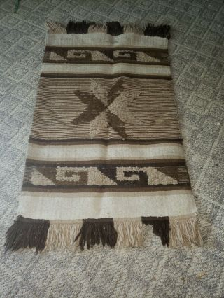 Hand Woven Mexican Antique Wool Rug,  With Star Pattern