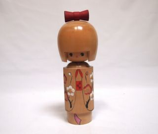"9.  4inch Japanese Kokeshi Antique Wooden Doll By "" Tomio "" Cute Kimono Girl"