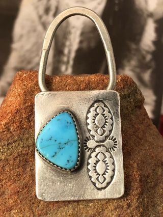 Lyle Piaso Navajo Sterling Silver Turquoise Keyring Keychain 062519eabzie