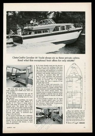 1964 Chris - Craft Cavalier 35 Yacht Boat 3 Photo & Diagram Vintage Print Ad